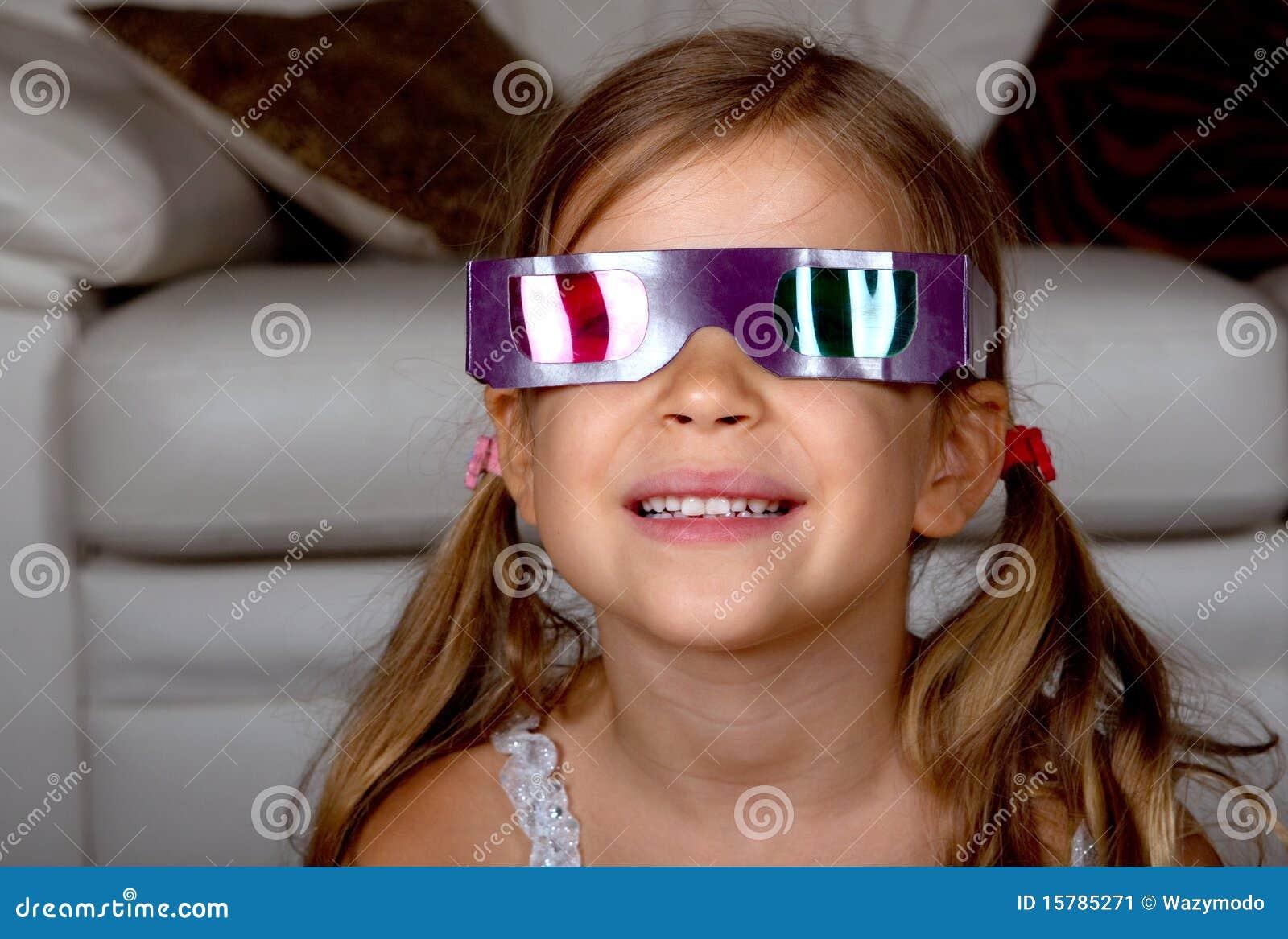 Girl Wearing 3D Glasses Stock Image - Image: 15785271