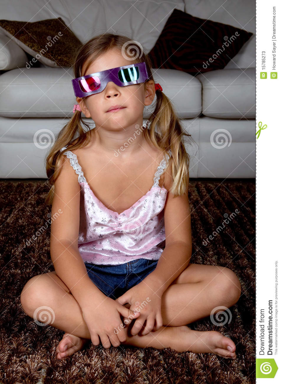 Girl Wearing 3D Glasses Stock Photos - Image: 15785273