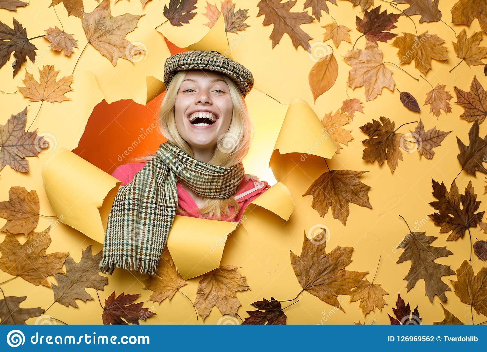 f8f2968ac0 Girl wearing in autumn clothes on autumn day. Having fun. Happy young woman  are