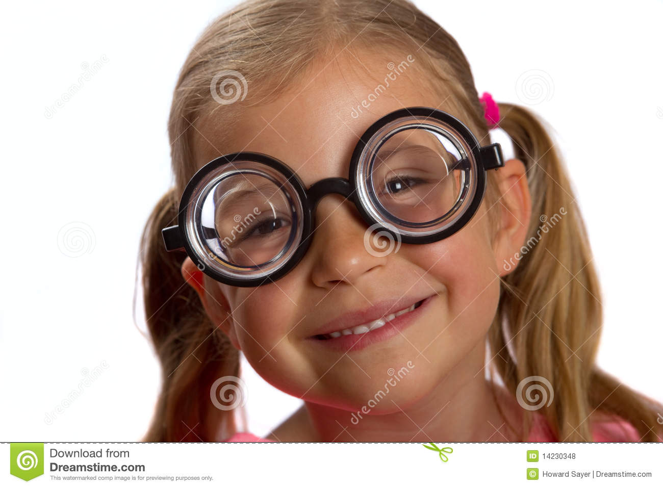 Girl Wearing Big Round Glasses Stock Photo - Image of lenses, blond ...