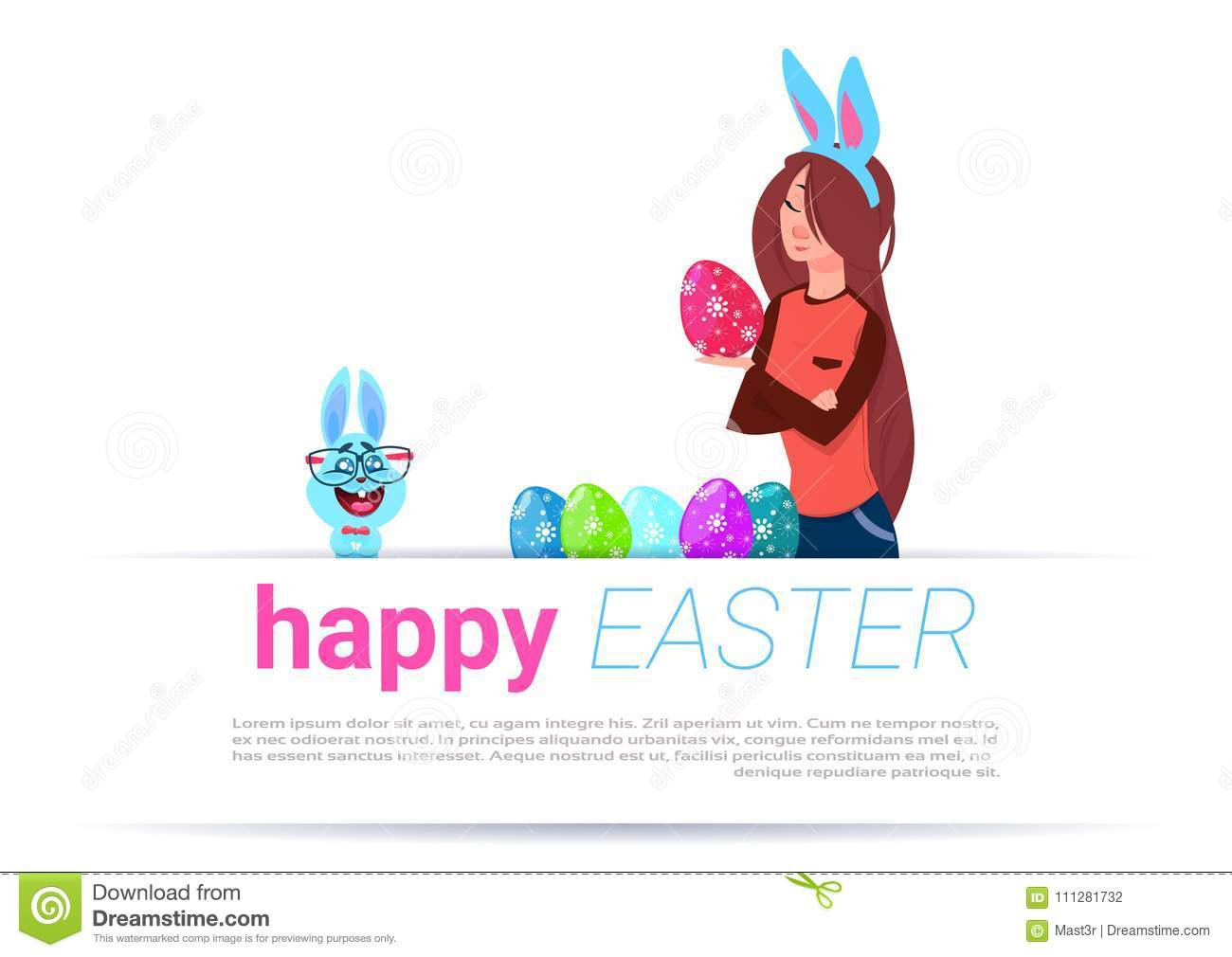 Girl Wearing Bunny Ears Paint Eggs Over Happy Easter Template
