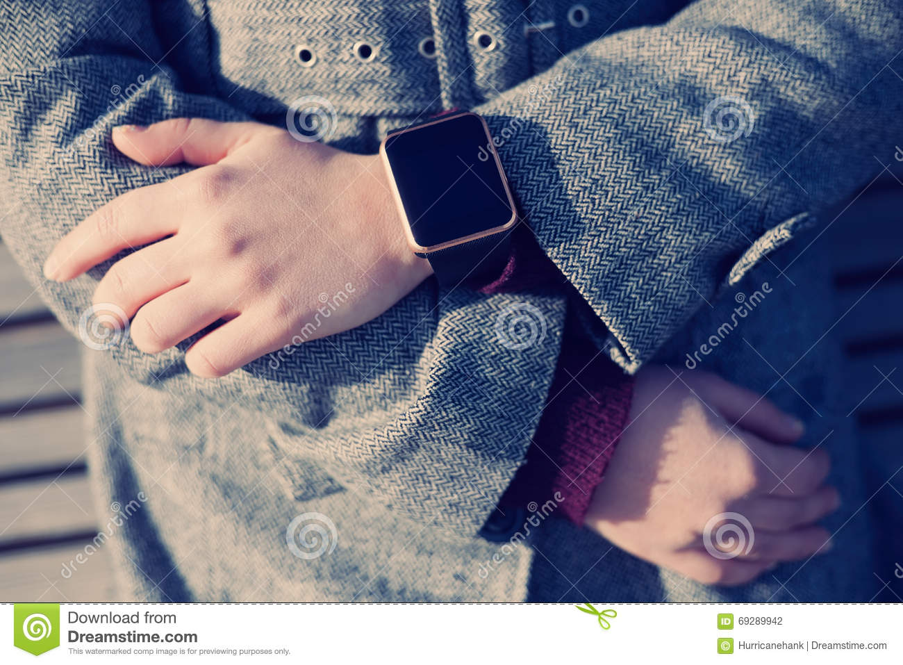 Girl Wearing Modern Smart Watch On Her Hand Stock Photo - Image of ...