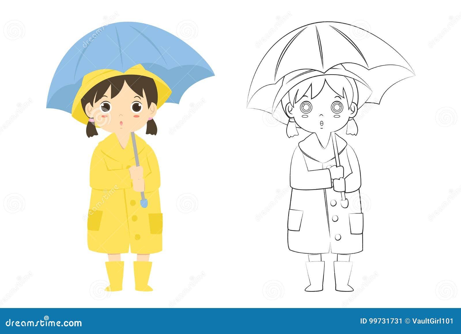 Download Girl In Raincoat Outline Cartoon Vector Stock
