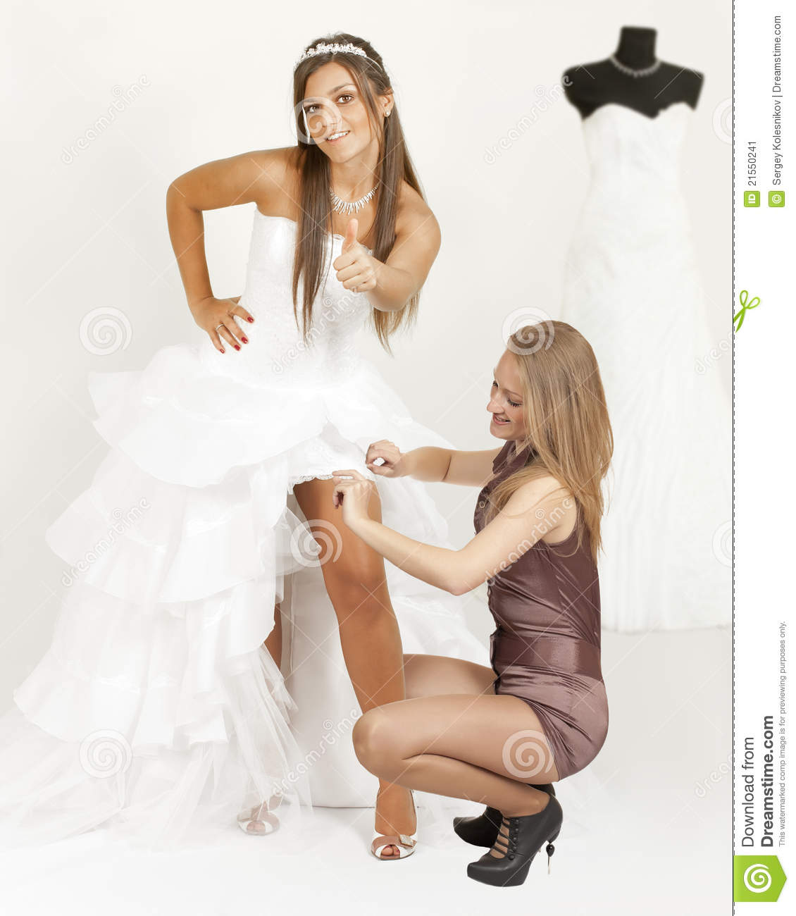 Download Girl In A Wedding Dress Show Thumb Stock Image - Image of finger, smile: 21550241