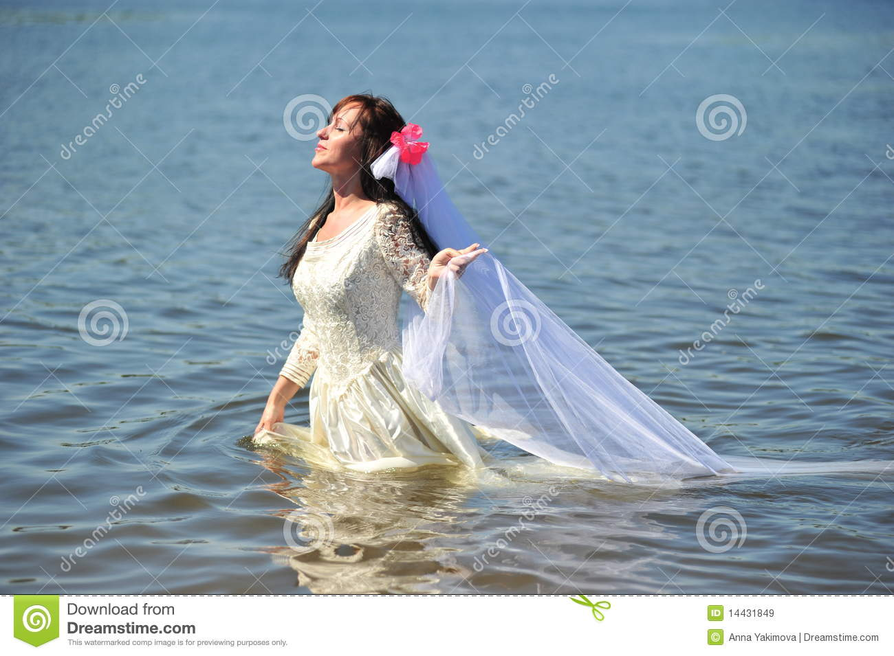 The Girl In A Wedding Dress In Water Stock Image - Image of married ...