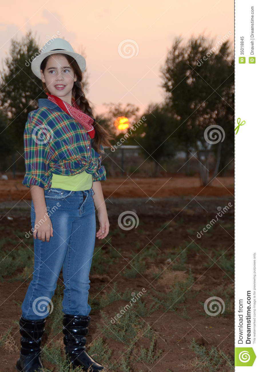 girl in western clothes royalty free stock photo image