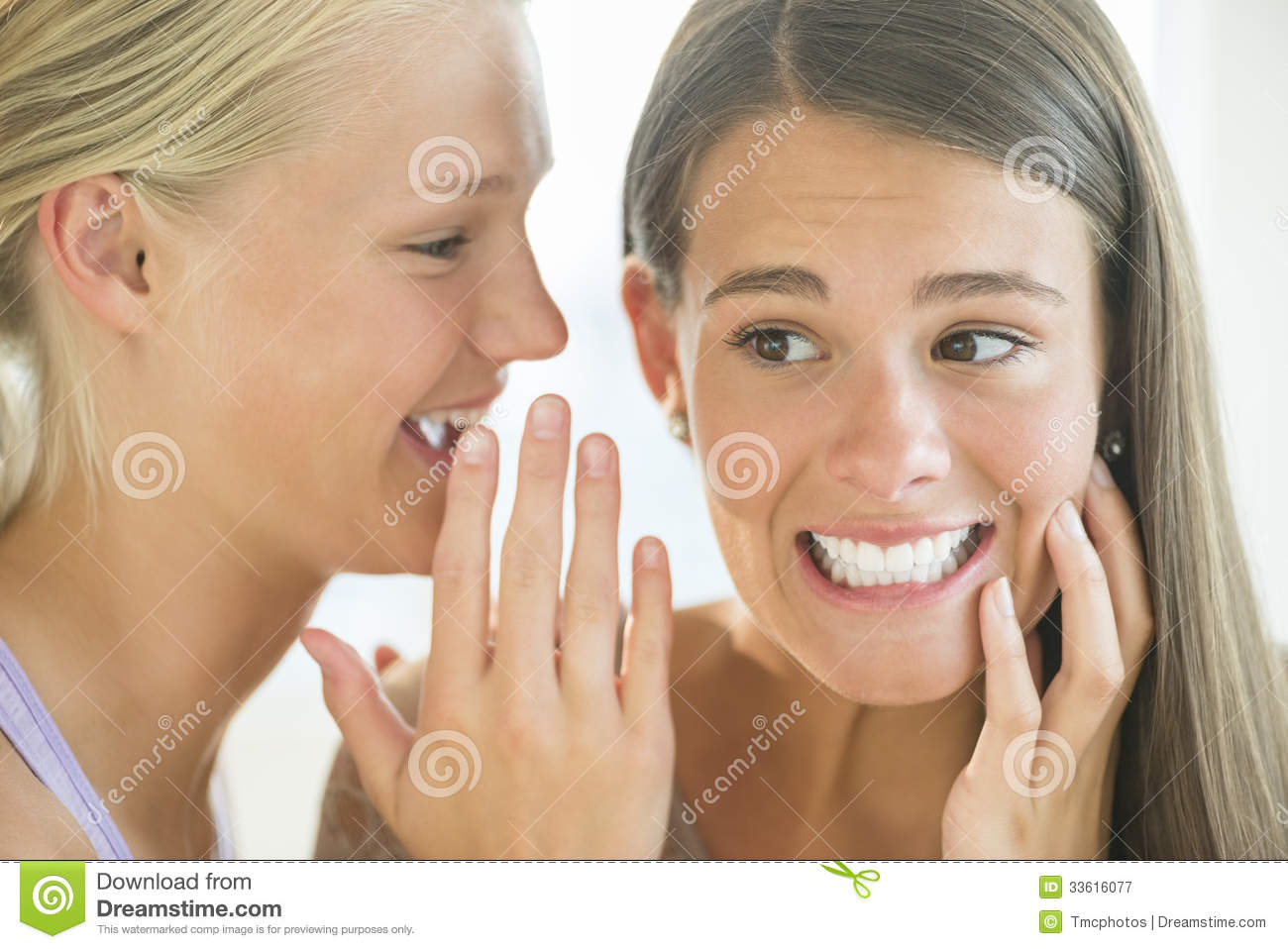 Girl Whispering Into Friend's Ear Royalty Free Stock ... Happy High School Student Clipart