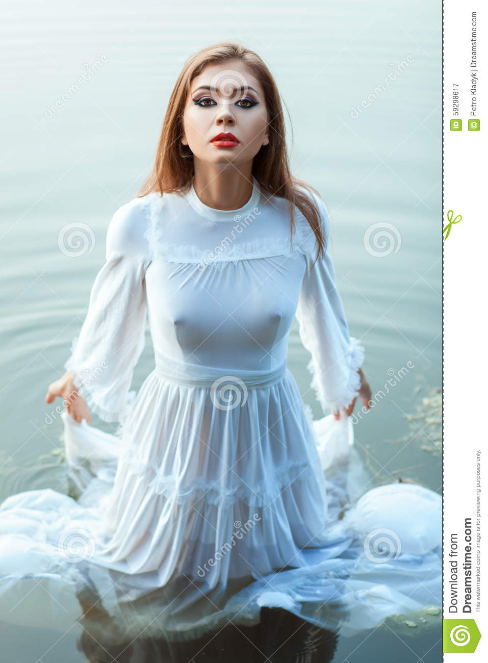 Girl In The White Dress Bride Standing Water. Stock Photo ...