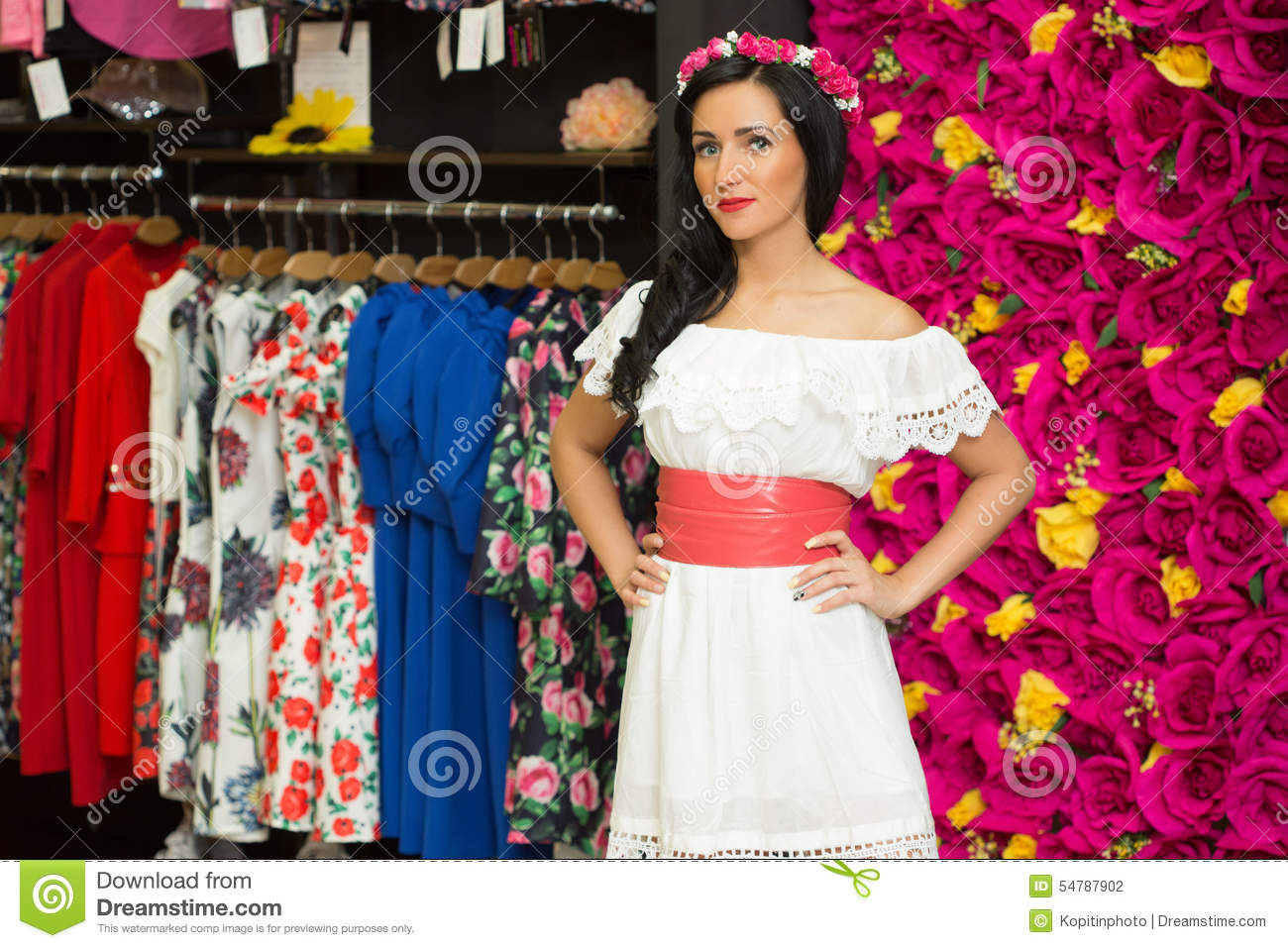 Pretty girl clothing store