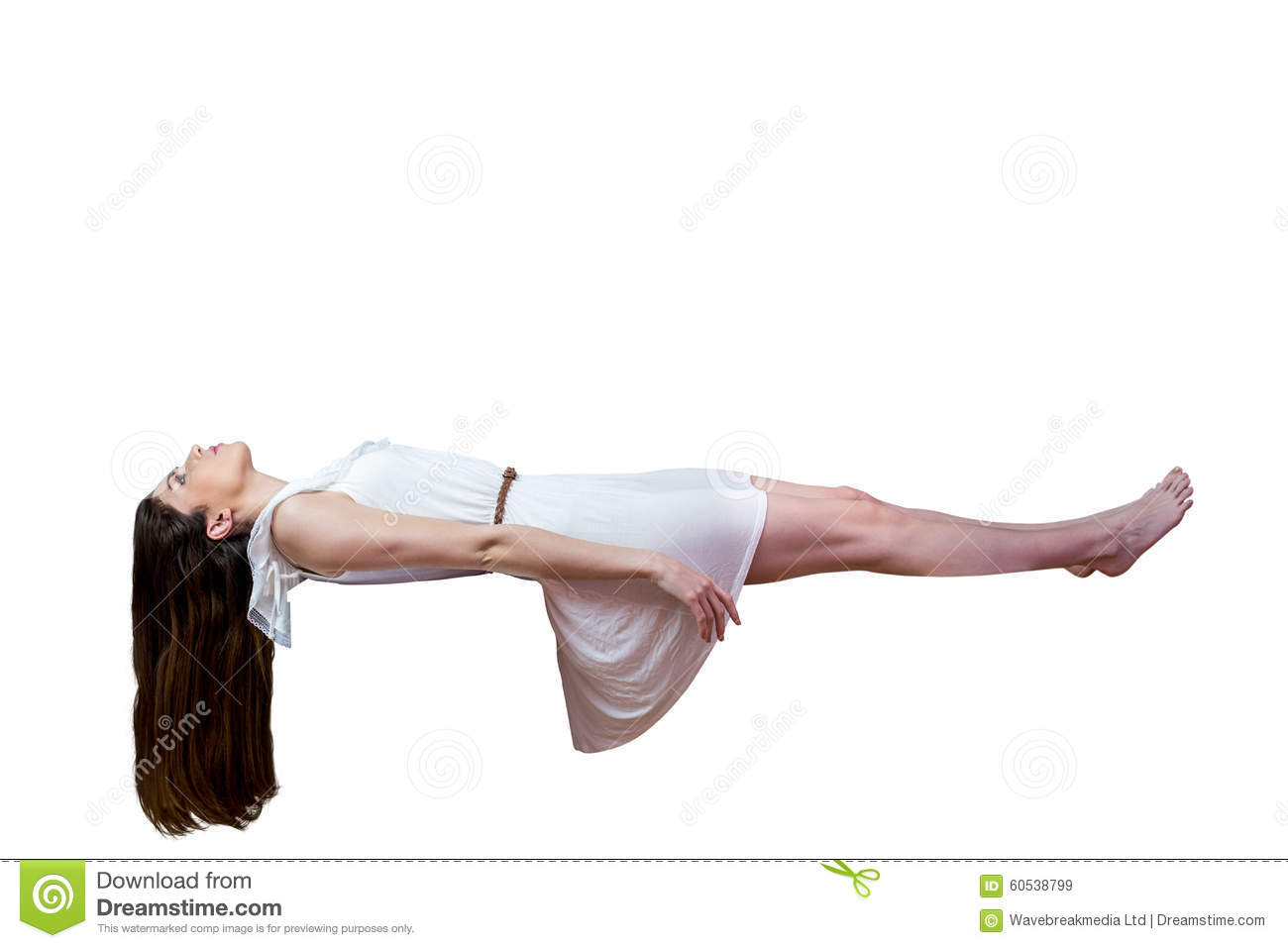 Girl In White Dress Floating In Air Stock Image Image