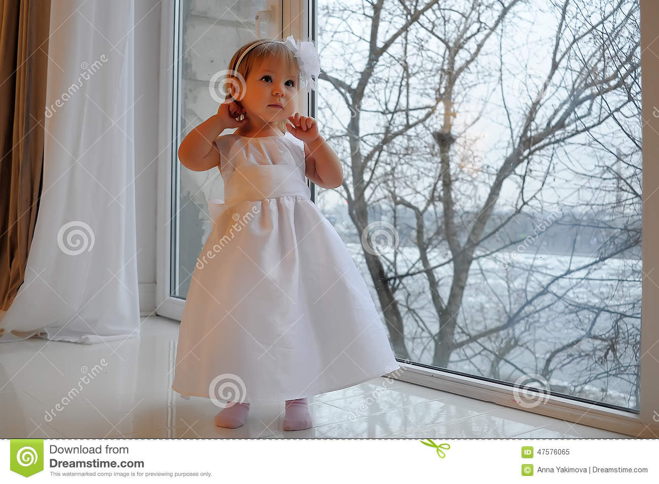Girl In White Dress Next To A Large Window Stock Image - Image of ...