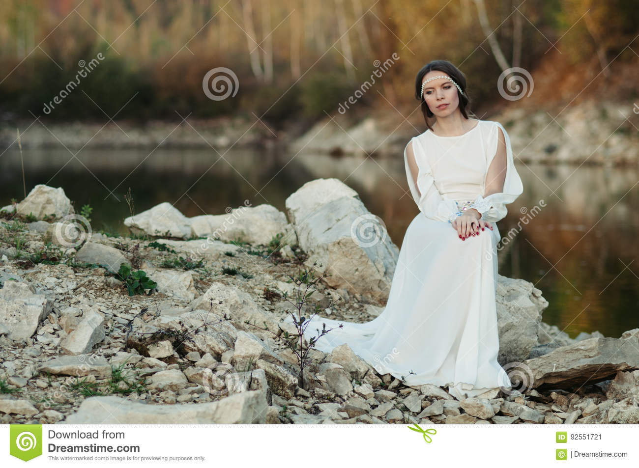 White dress by the shore - A Girl In A White Dress On The Shore Of A Pond
