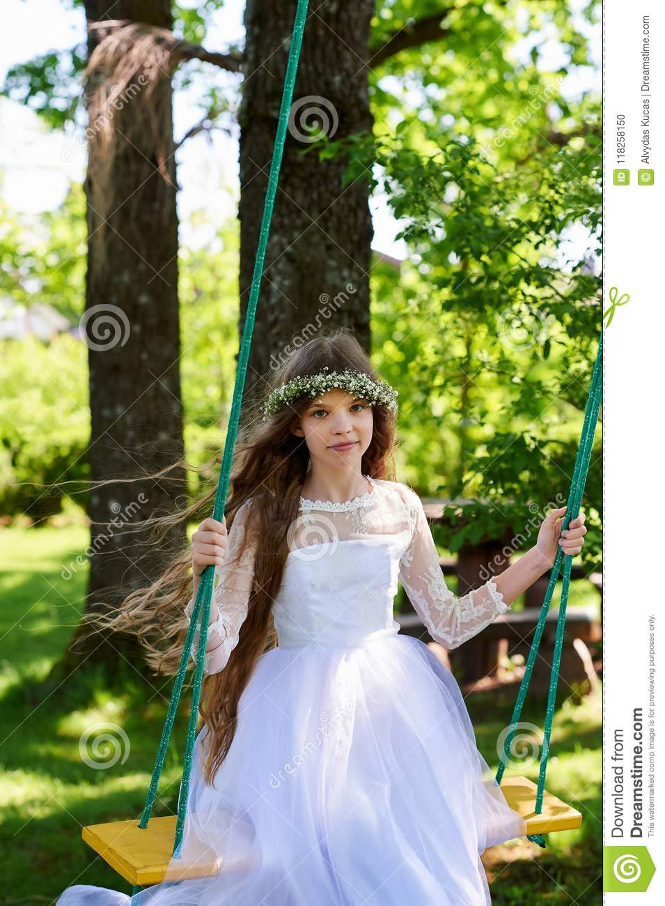 Think, girl swinging in a dress something