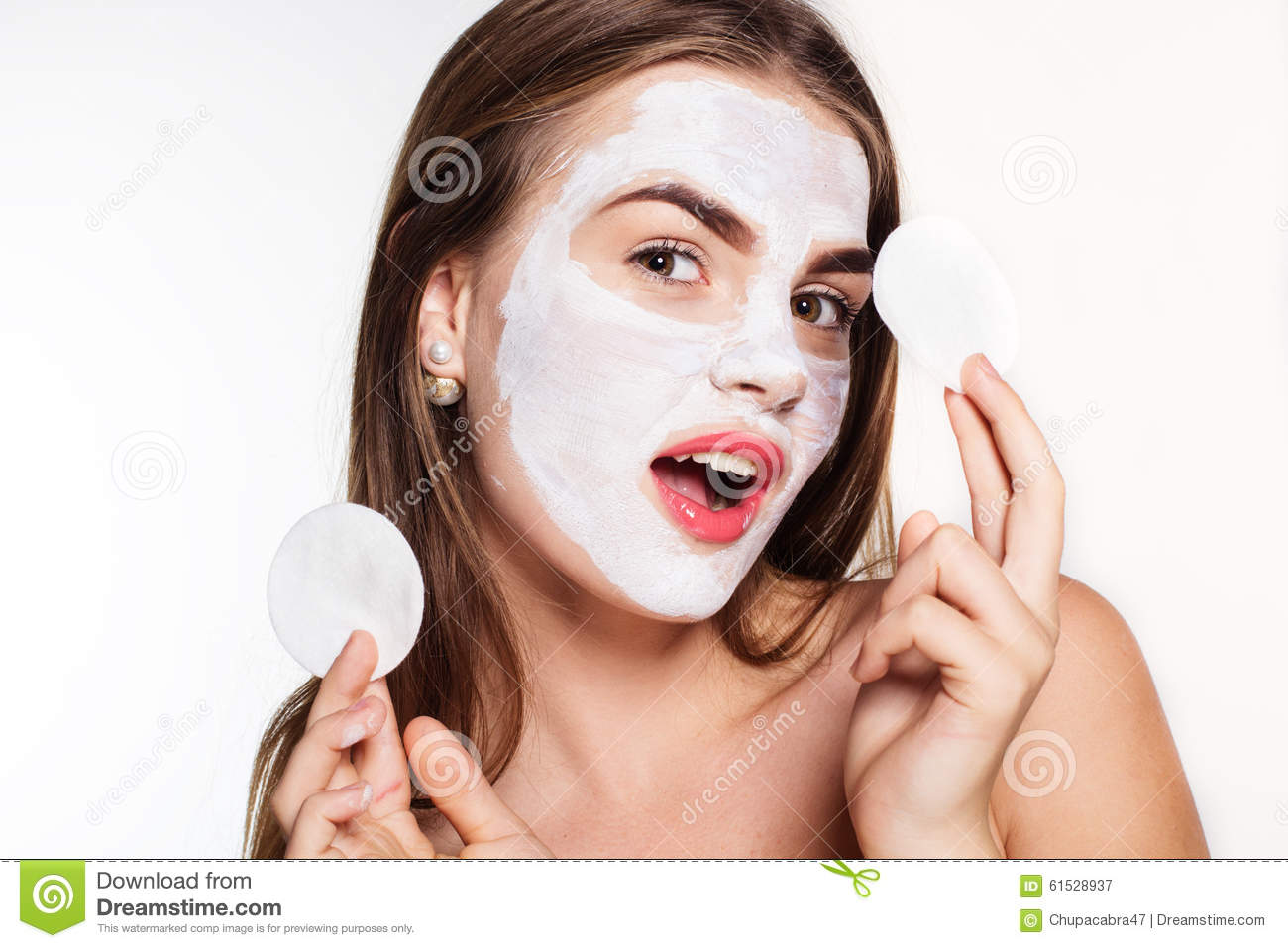 Stock White In With Girl Image Face And Hands Pads Pack Cotton