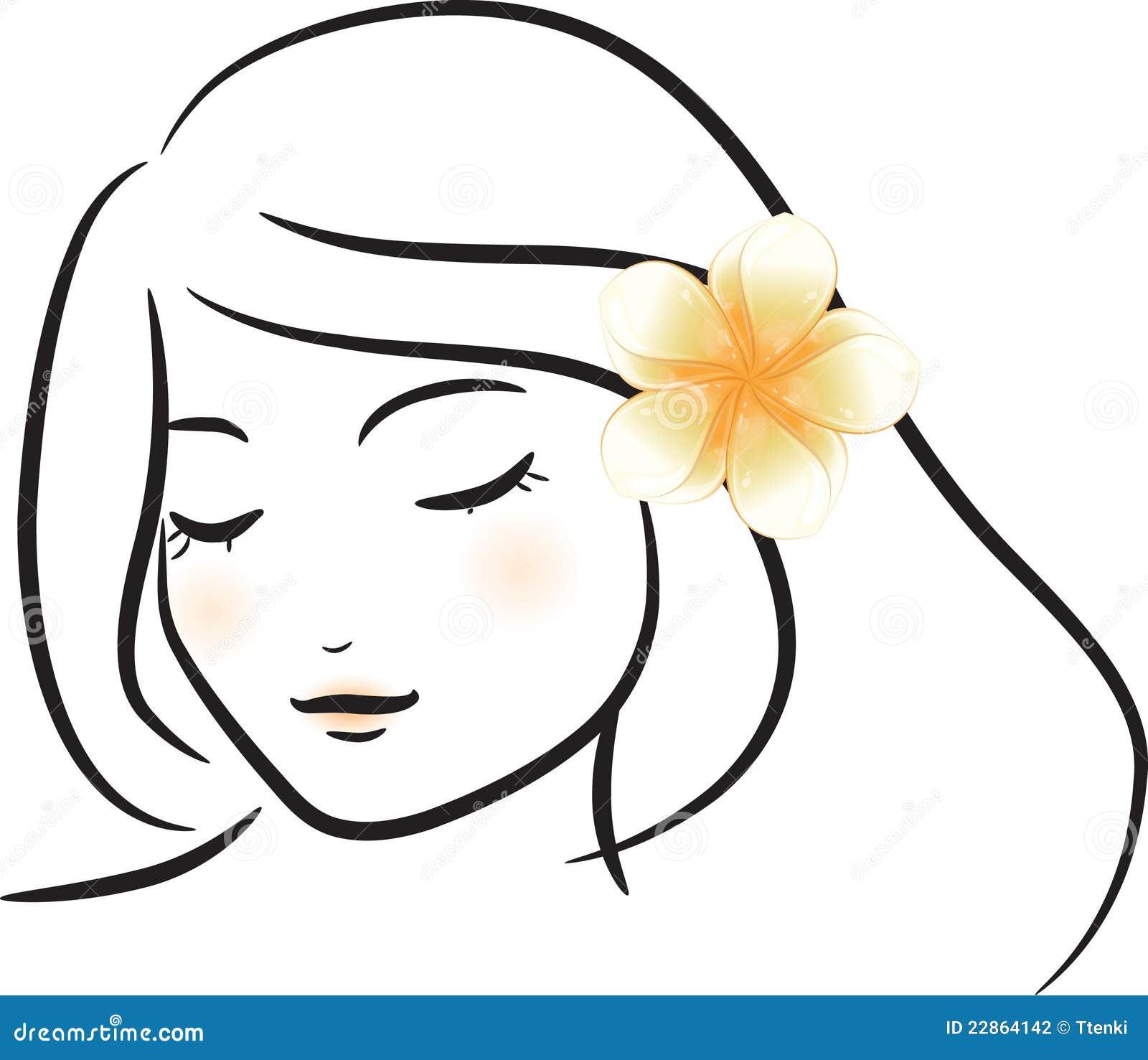 Girl with white frangipani flower