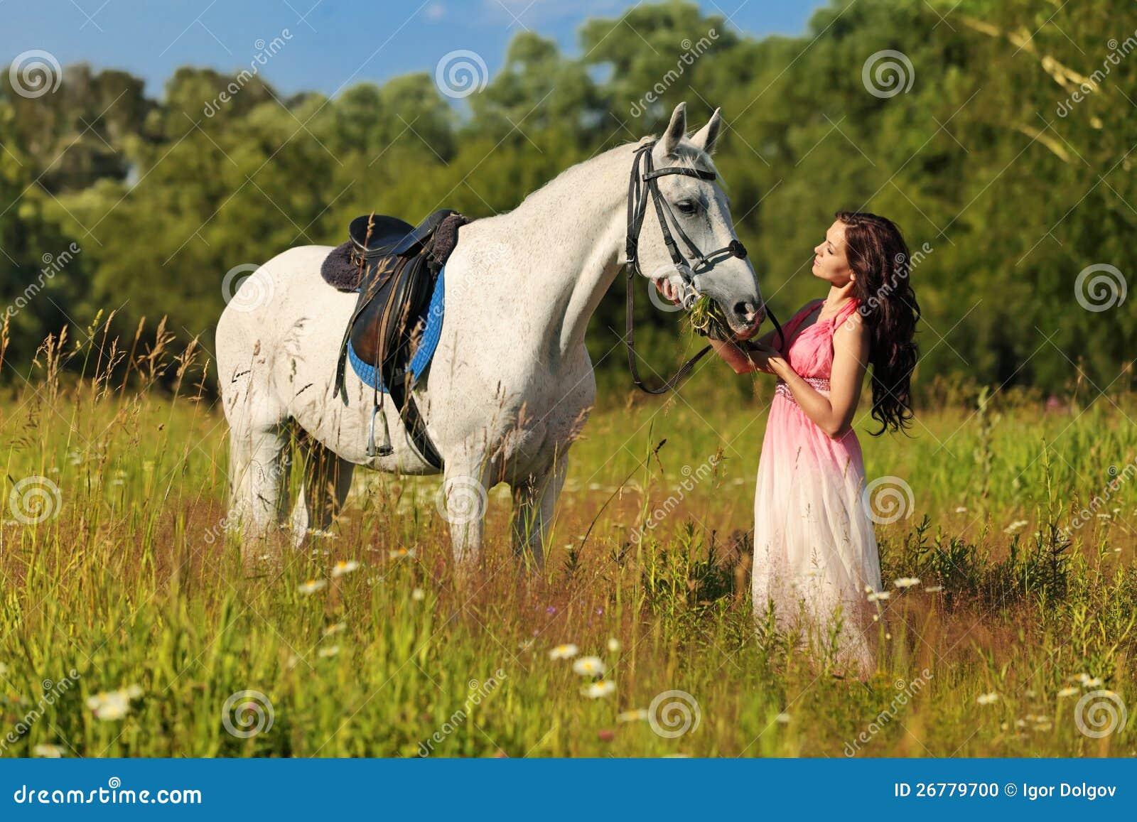 white horse girl