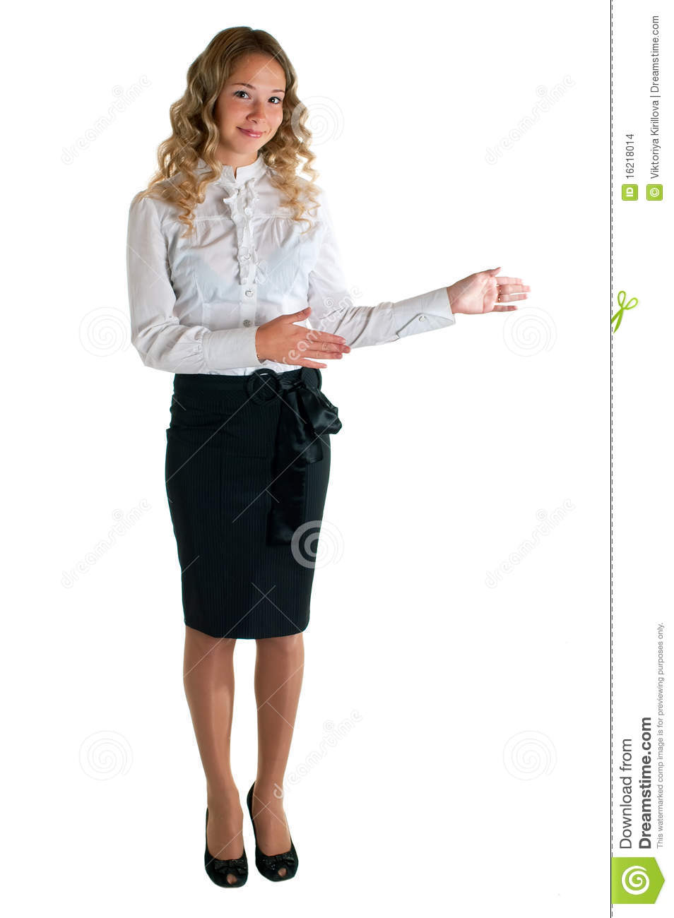 Girl In A White Shirt And Black Skirt Stock Images - Image 16218014