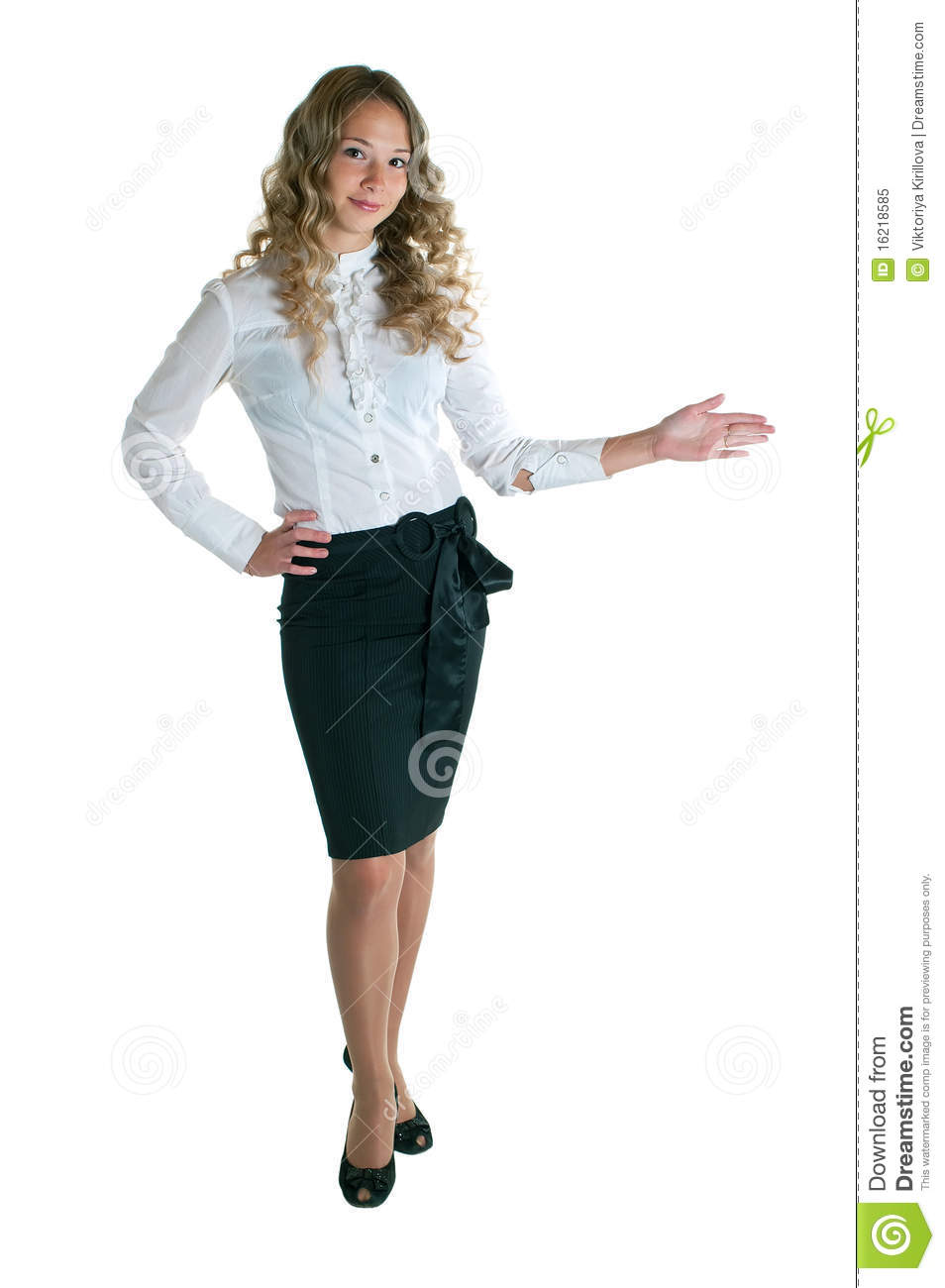 Girl In A White Shirt And Black Skirt Stock Image Image