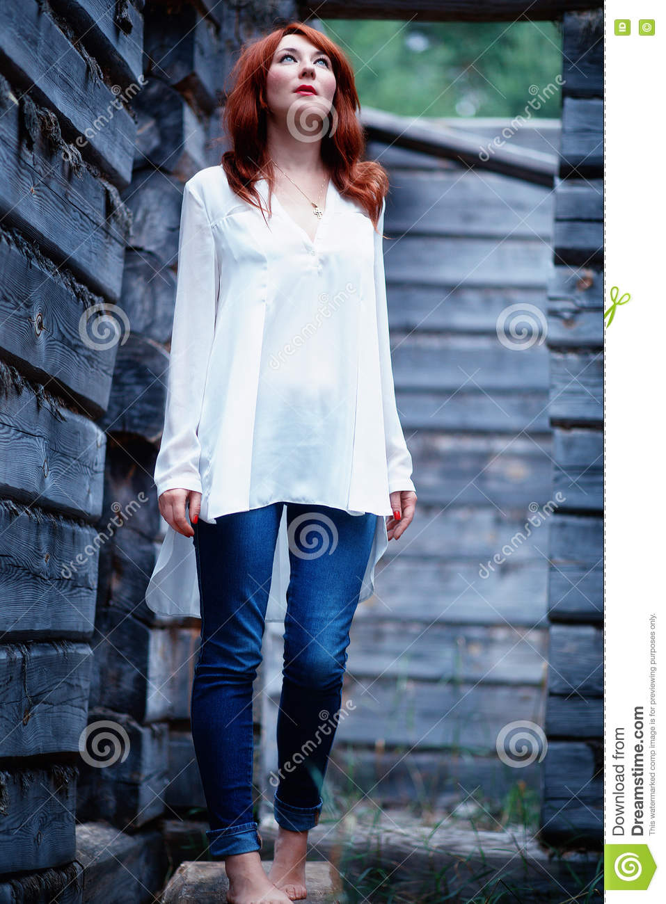 aa044c1b57f Girl In White Shirt And Blue Jeans Stock Image - Image of cute ...