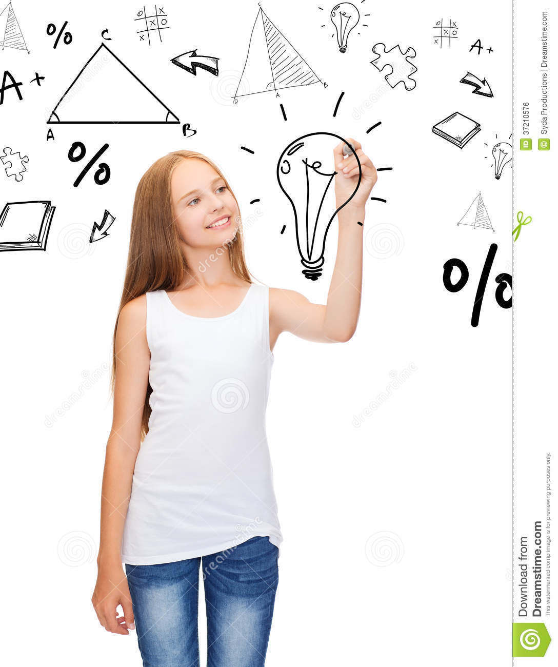 Girl in white shirt drawing idea on virtual screen