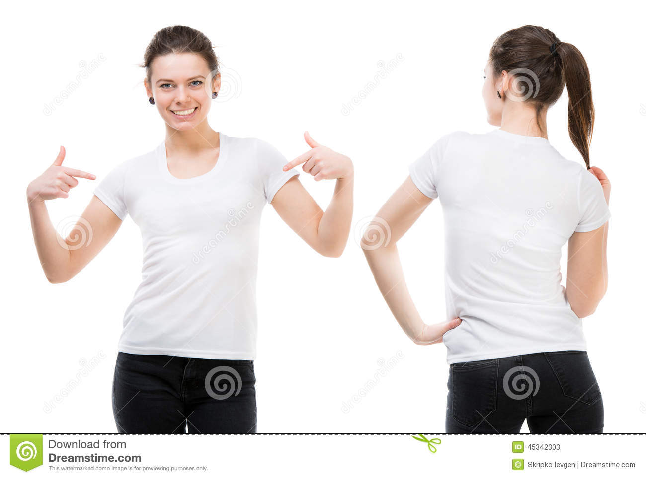 Girl In A White T-shirt Stock Photo - Image: 45342303