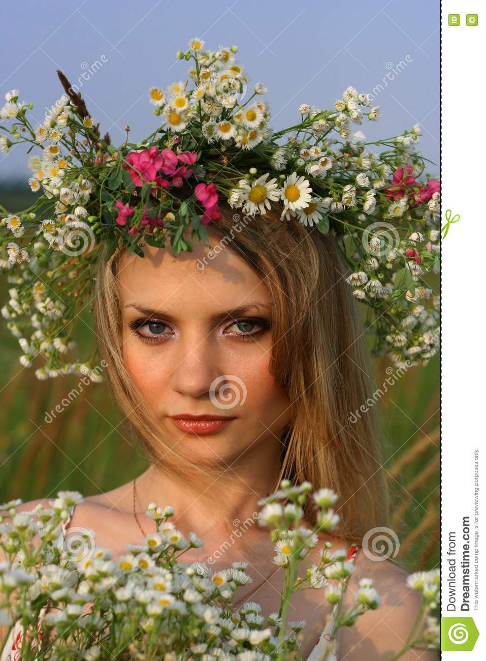 Girl with wild flowers