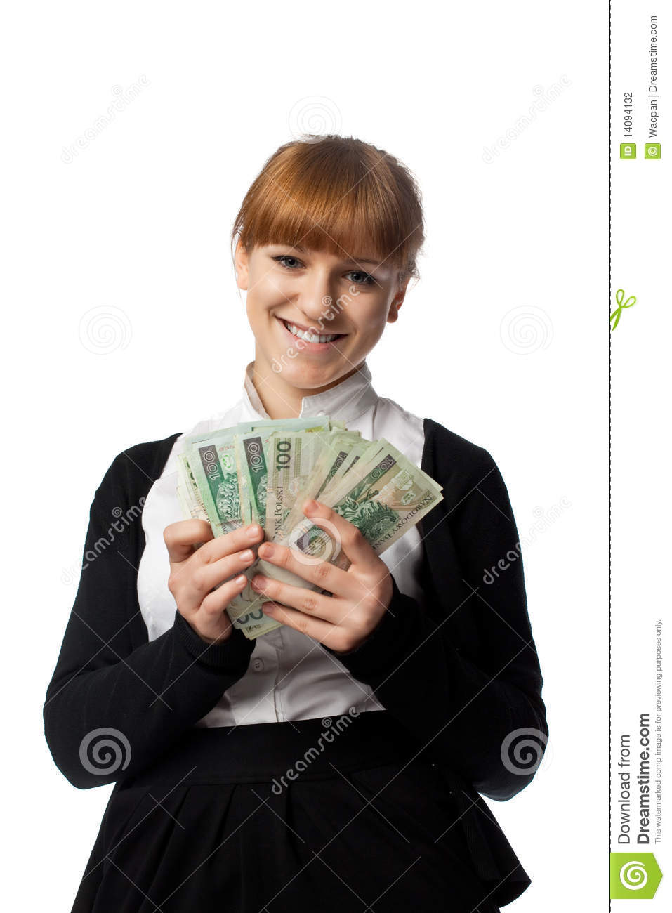 Girl Win Lots Of Money Stock Photography - Image: 14094132