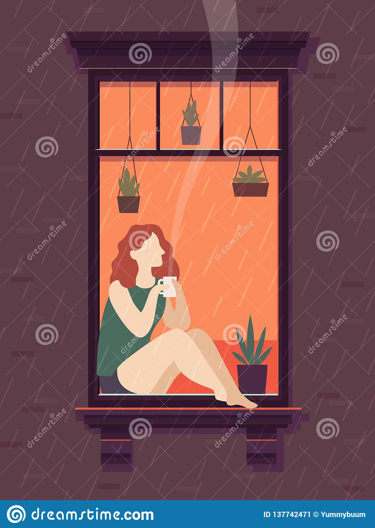 Girl at window with coffee. Windows person enjoy drinking coffee tea cup lonely time, cartoon vector illustration
