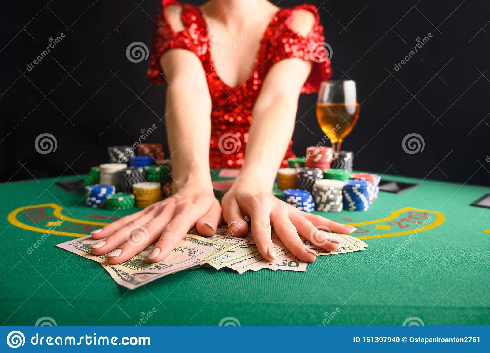 A Girl Wins Cards In A Casino And Takes Away Wins Money Dollars Blackjack Poker Texas Poker Gaming Business Stock Photo Image Of Gambling Chance 161397940