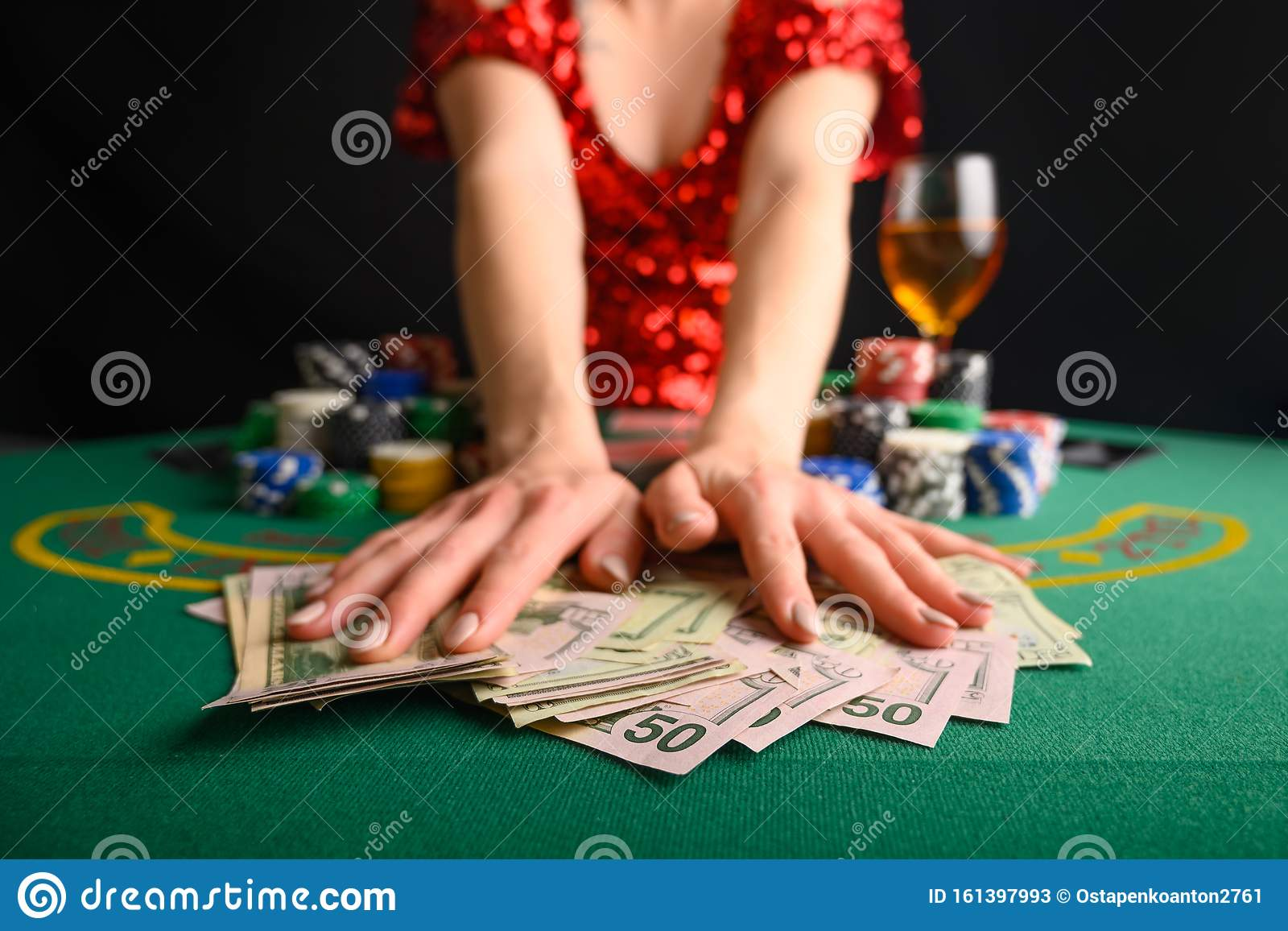A Girl Wins Cards In A Casino And Takes Away Wins Money Dollars