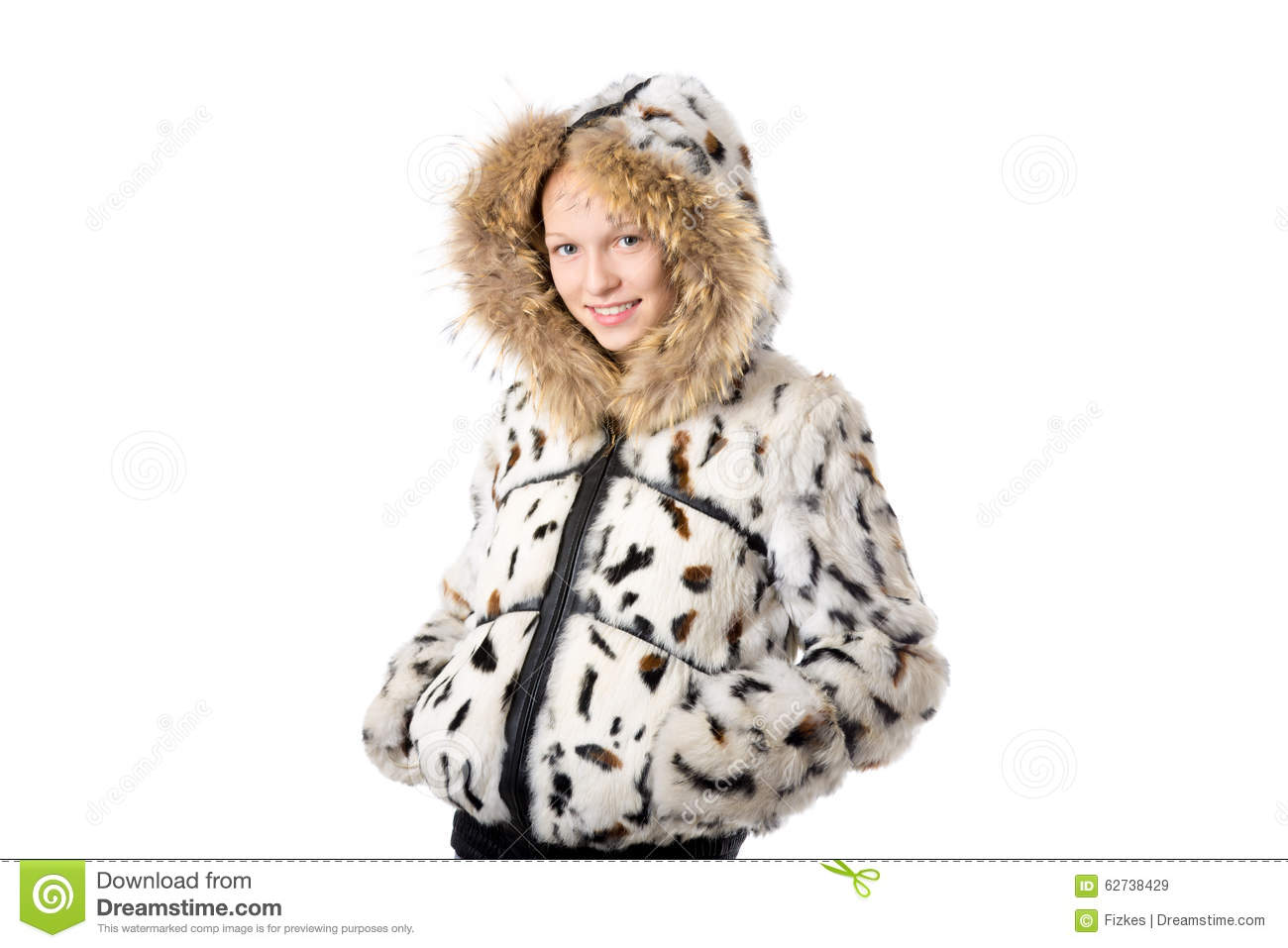 972b4e7ddcd4 Girl In Winter Coat With Hood Stock Image - Image of cheerful ...