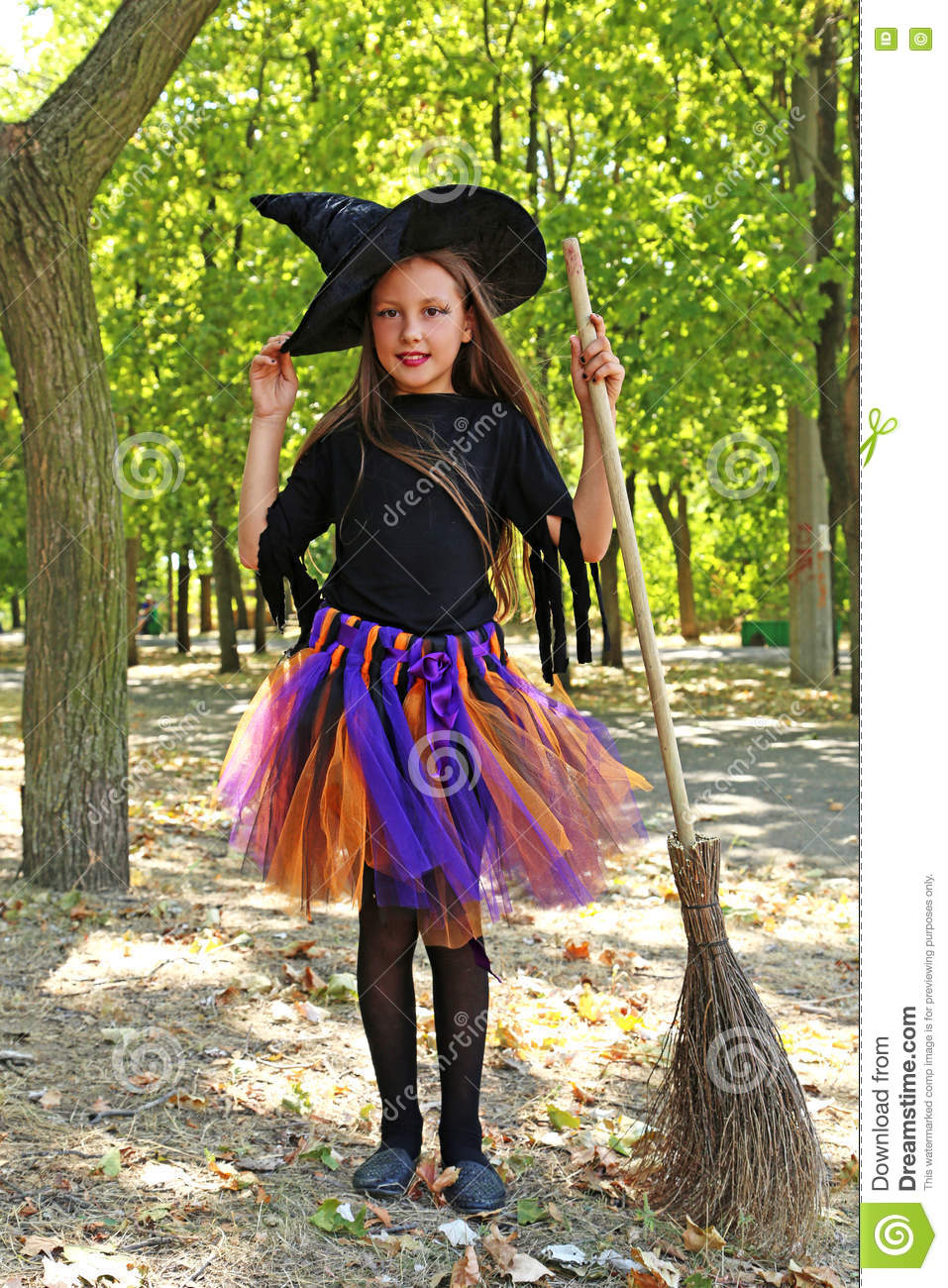 Girl Witch Stock Photo Image Of Broom Mystic Holding