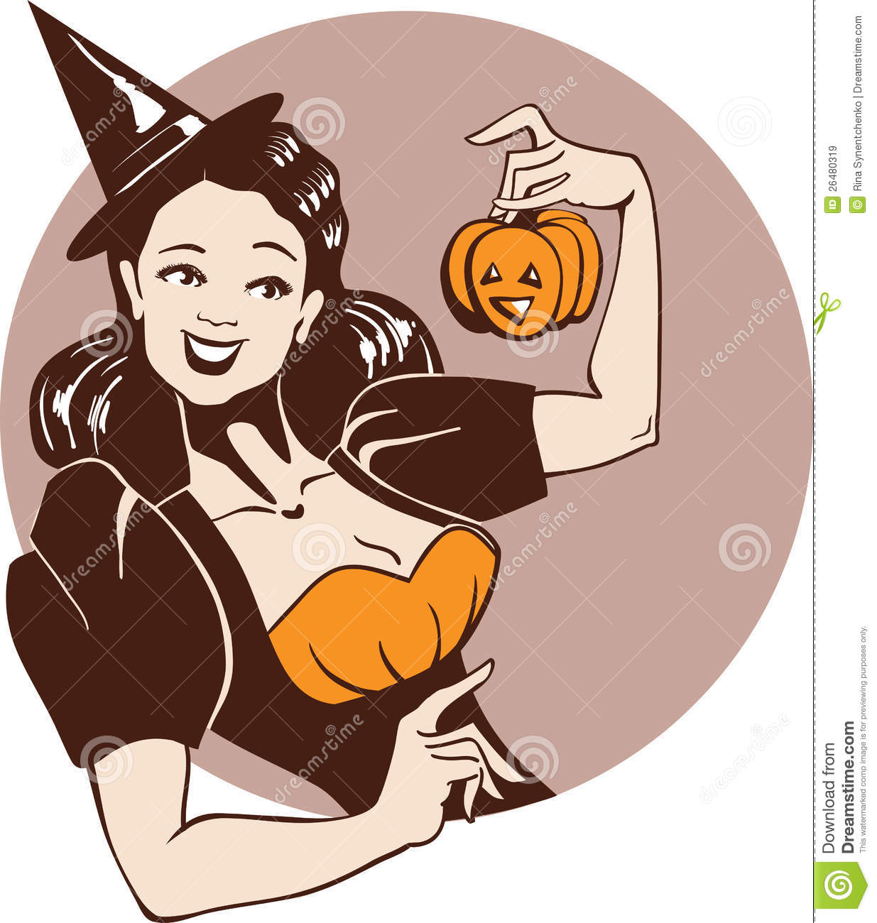 Girl in witch costume with pumpkin