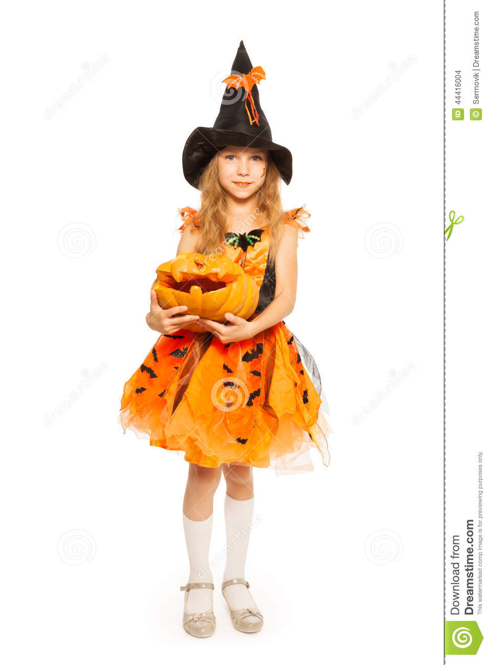 Girl In Witch Dress Hold Carved Halloween Pumpkin Stock Photo ...