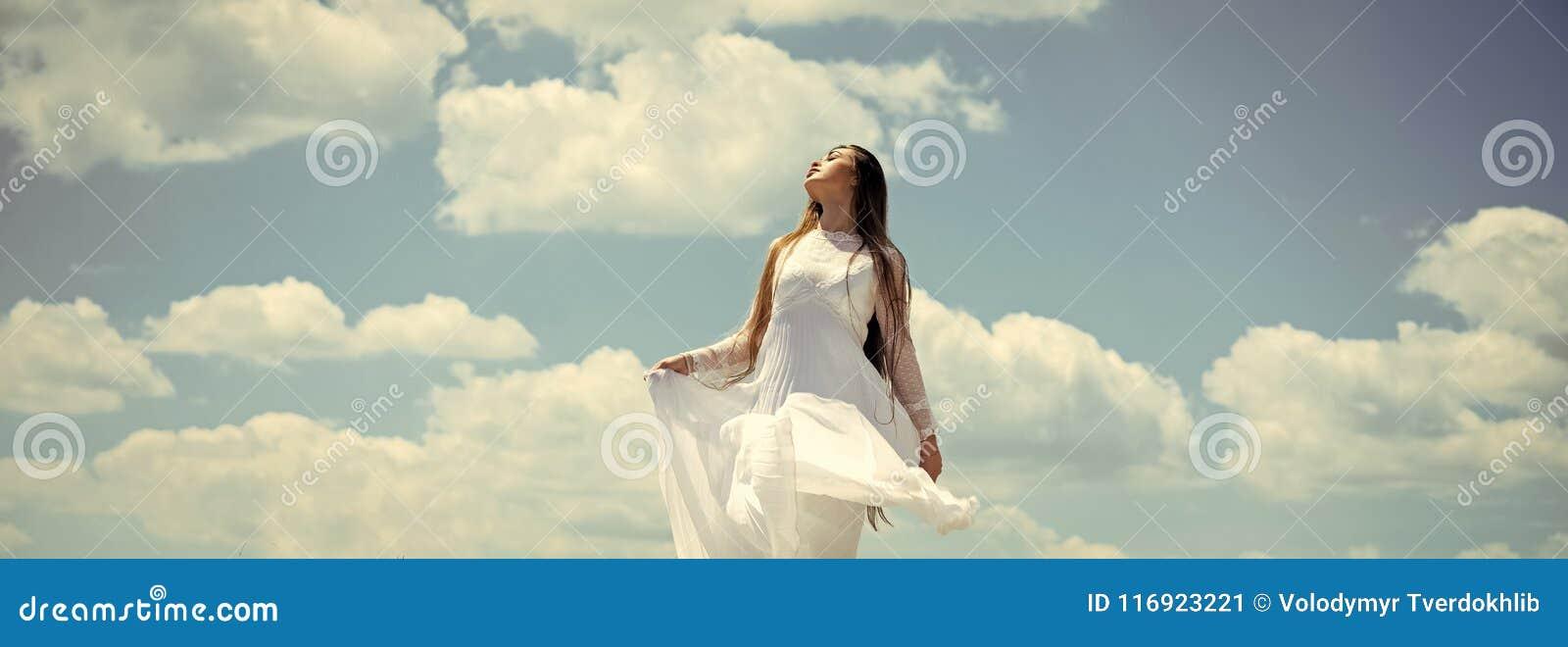 f679af198bbc Girl Enjoy Sunny Summer Day On Cloudy Blue Sky Stock Image - Image ...
