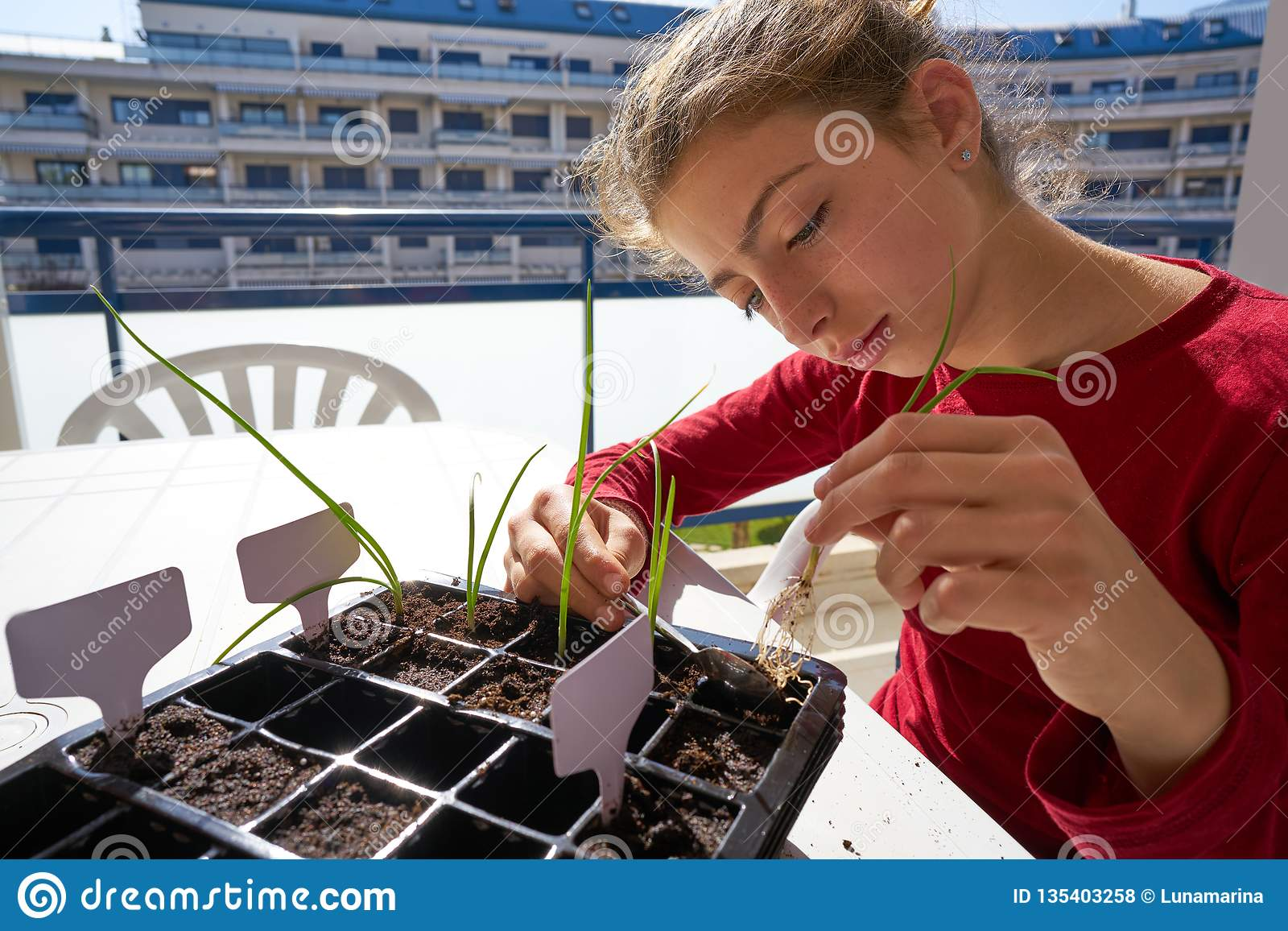 Girl working on seedling task outdoor