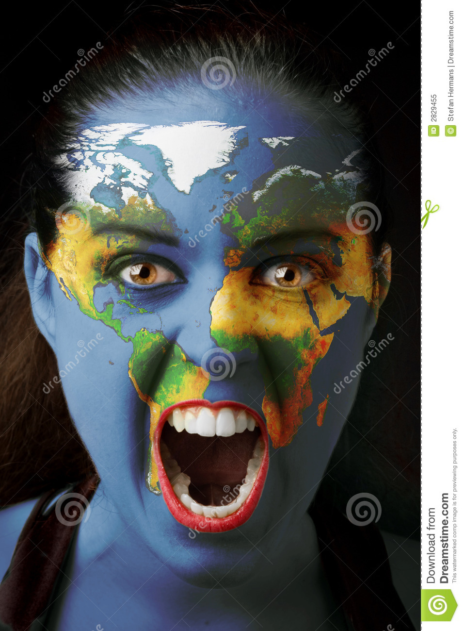 Girl With World Map Stock Image Image Of World Face 2829455