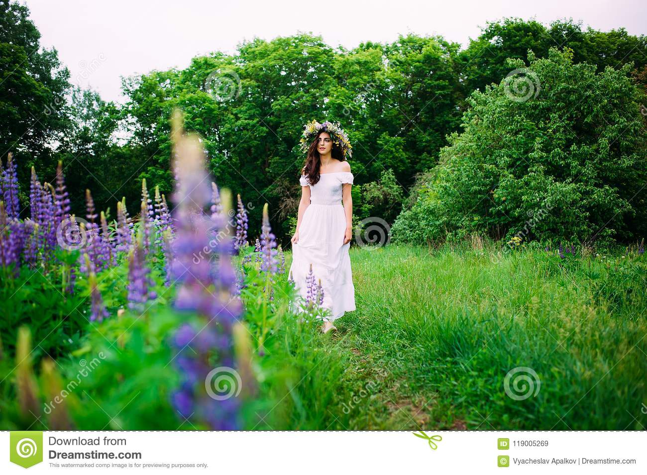Girl with a wreath of wildflowers