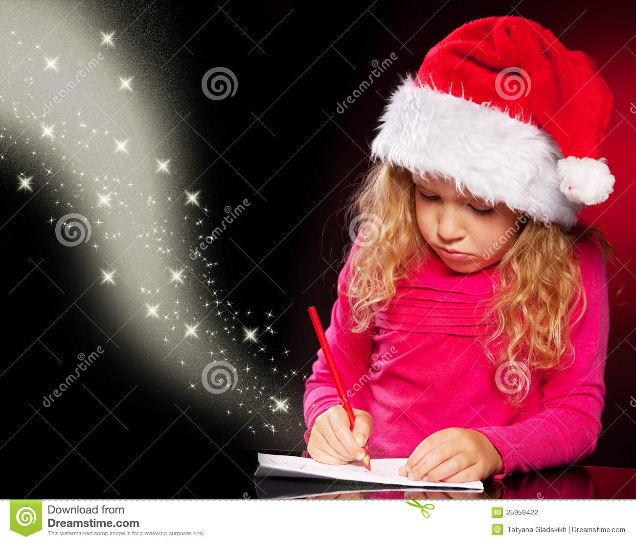 girl writing a letter to santa claus stock photo image of