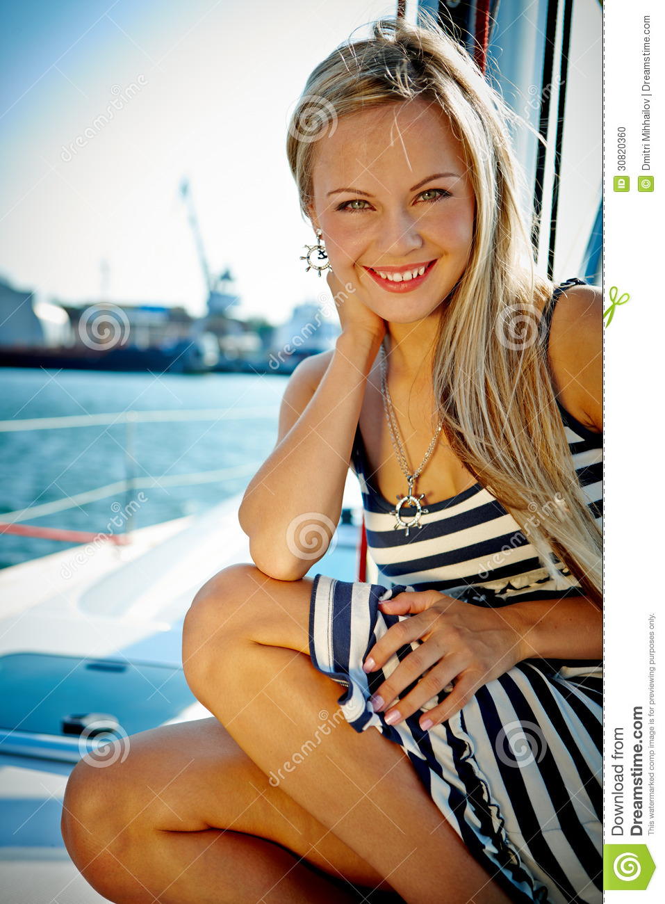 girl on a yacht stock photo  image of happy  model  sail
