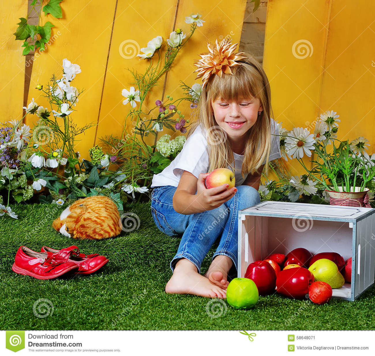 Girl 6 years old in garden with apples stock image image for Gardening tools for 6 year old