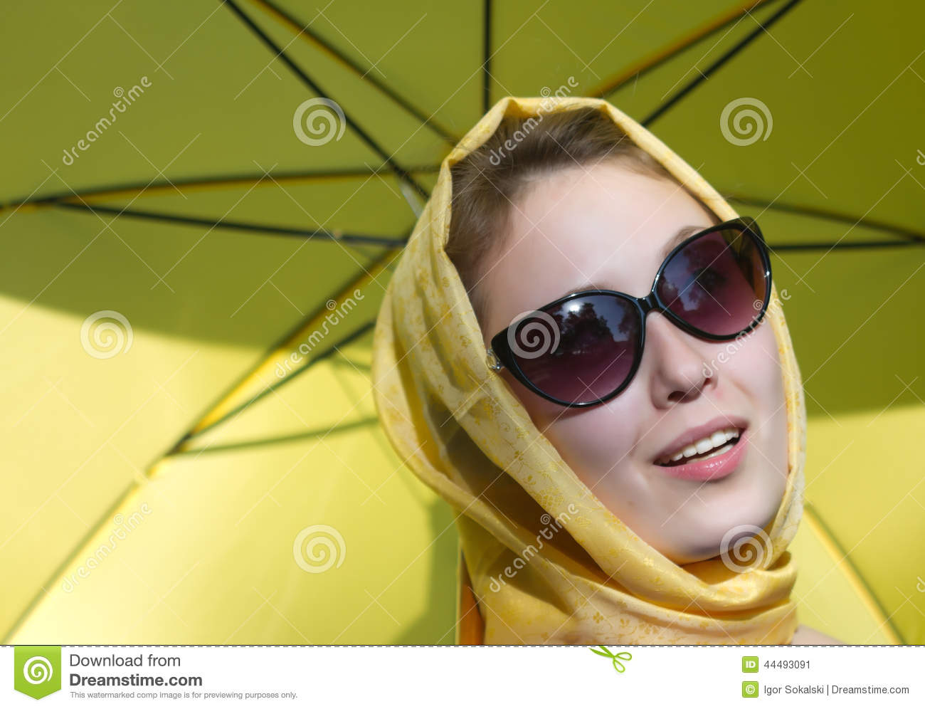 Girl yellow umbrella