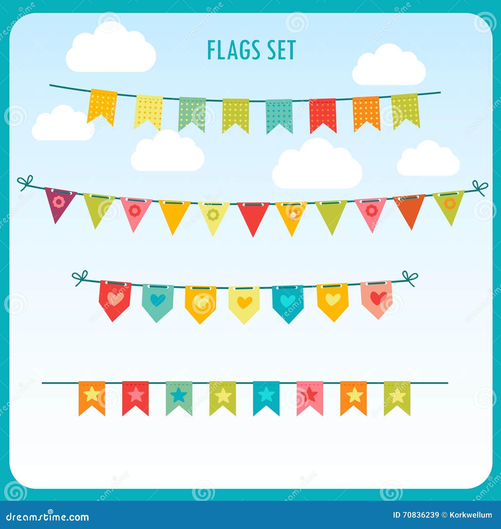 Girlanden Von Festlichen Flaggen Gegen Den Hellen Himmel Vektor