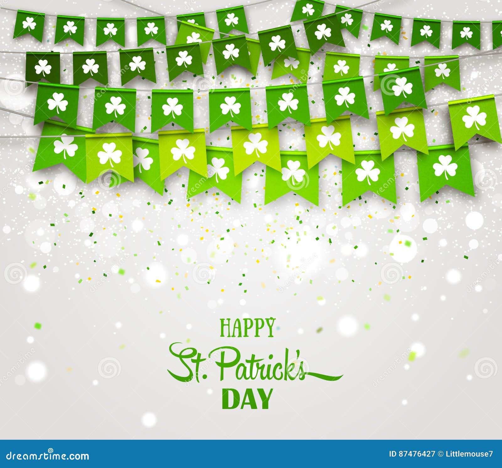 Girlandflaggor med växter av släktet Trifolium Irländsk dag för ferieSt Patrick ` s
