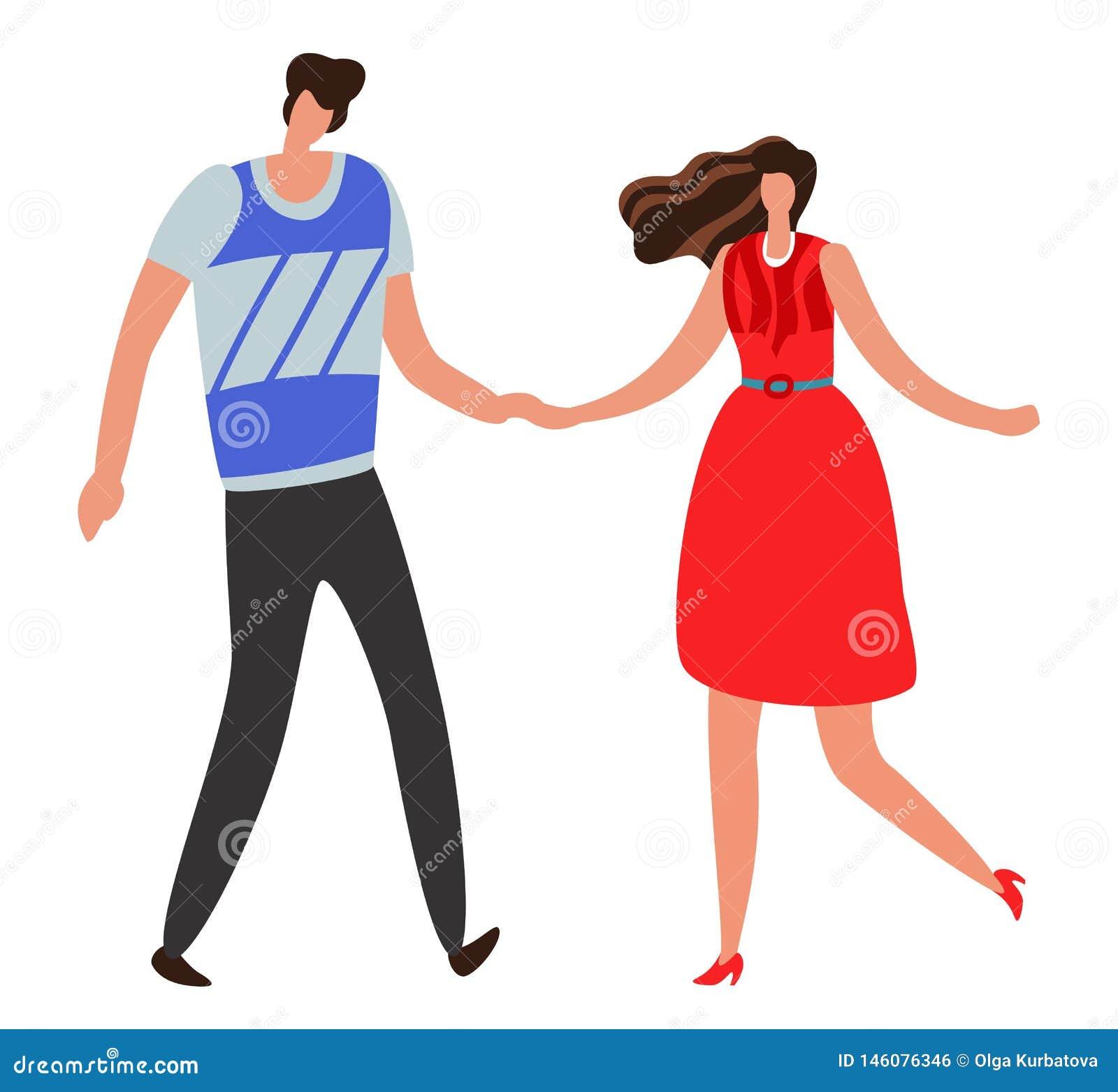 Girlfriend Pares novos e romântico bonitos, menino e menina junto Conceito feliz do vetor do relacionamento