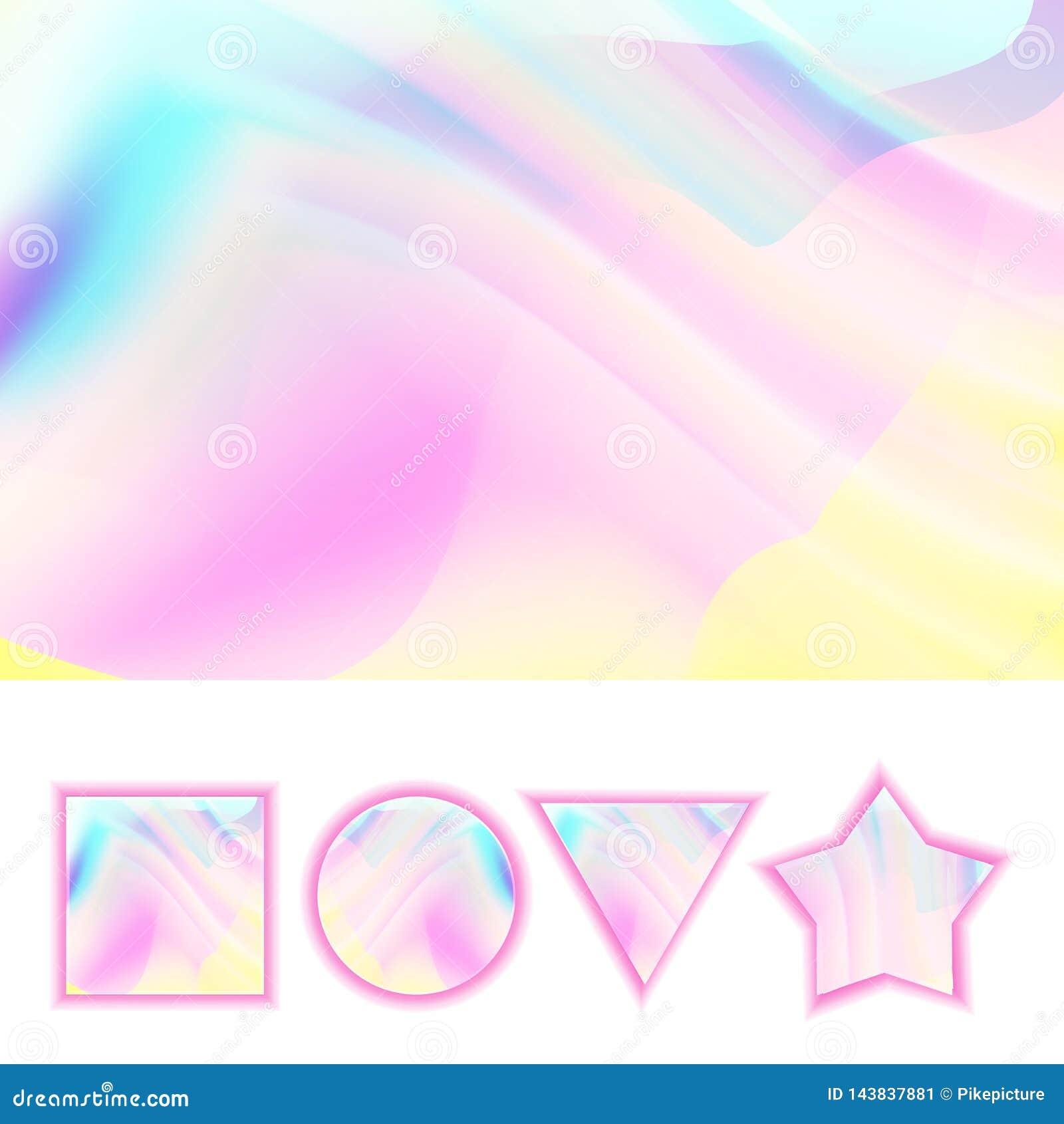 Girlie Background Vector. Abstract Holographic Pastel Girlie Backdrop. Rainbow Soft Color. Illustration