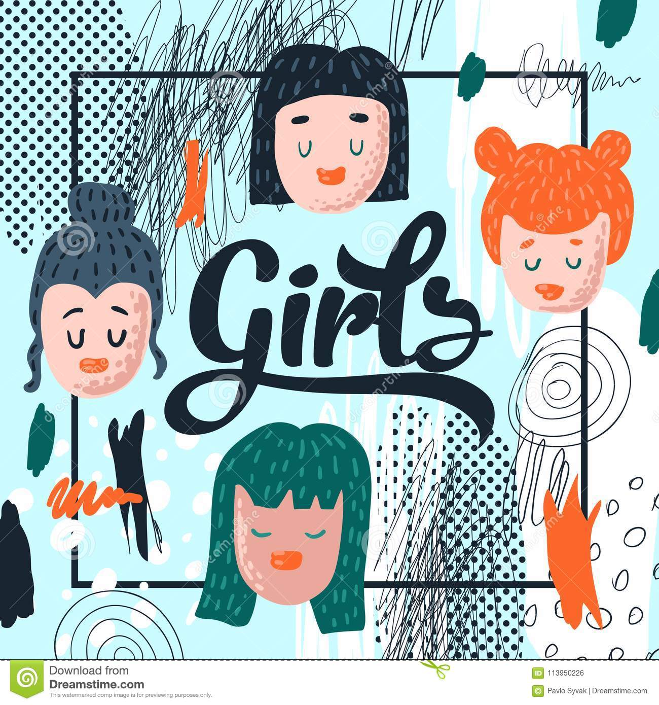Girlish Hand Drawn Design. Hand Drawn Childish Background with Cute Girl Faces for Poster, Greeting Card, Decoration
