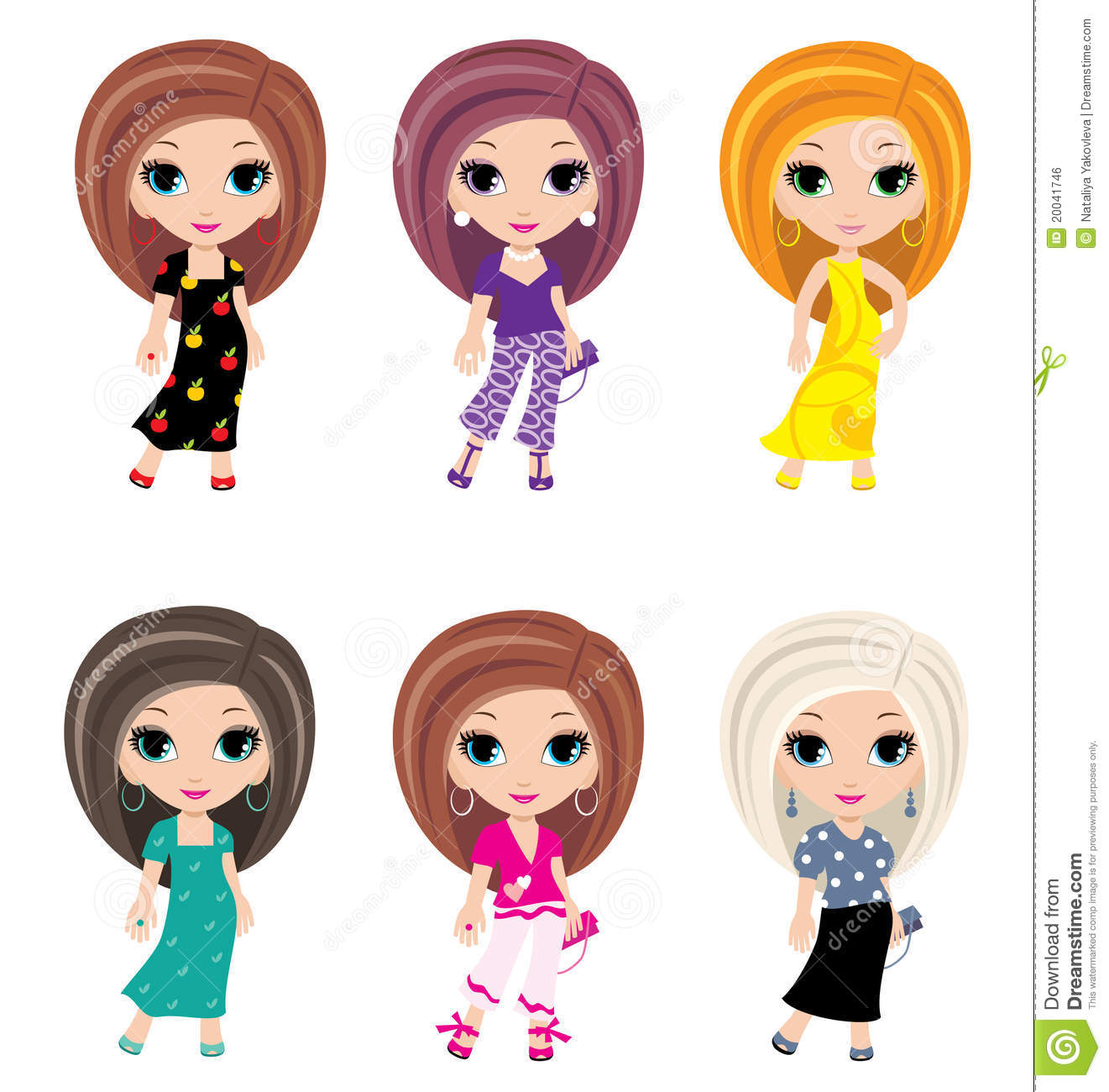 Girls Animated In Different Clothes Royalty Free Stock