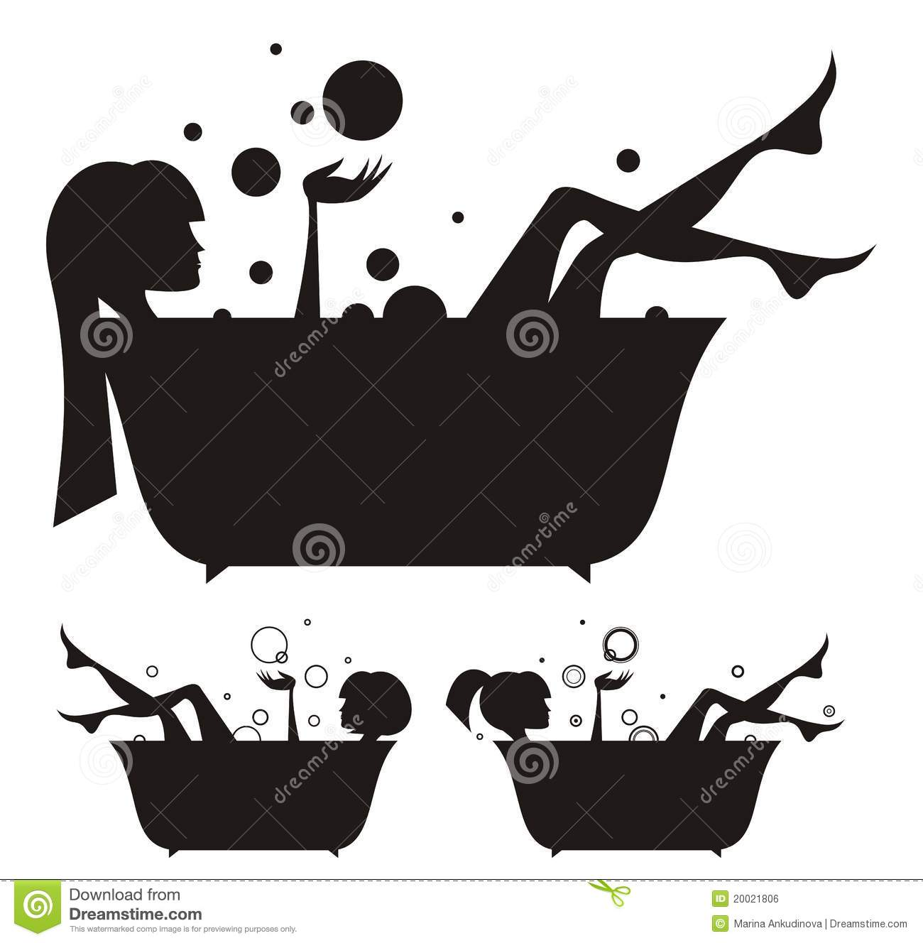 Girls In The Bath Stock Vector. Image Of Relaxation, Human