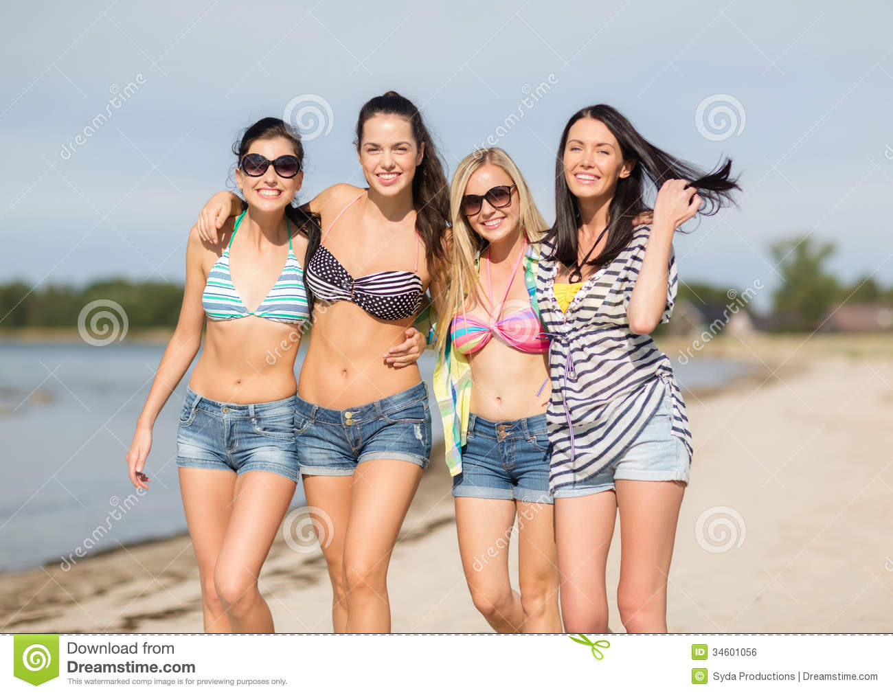 Gals walking in bikini